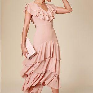 Betsey Blush Ruffled Midi Dress